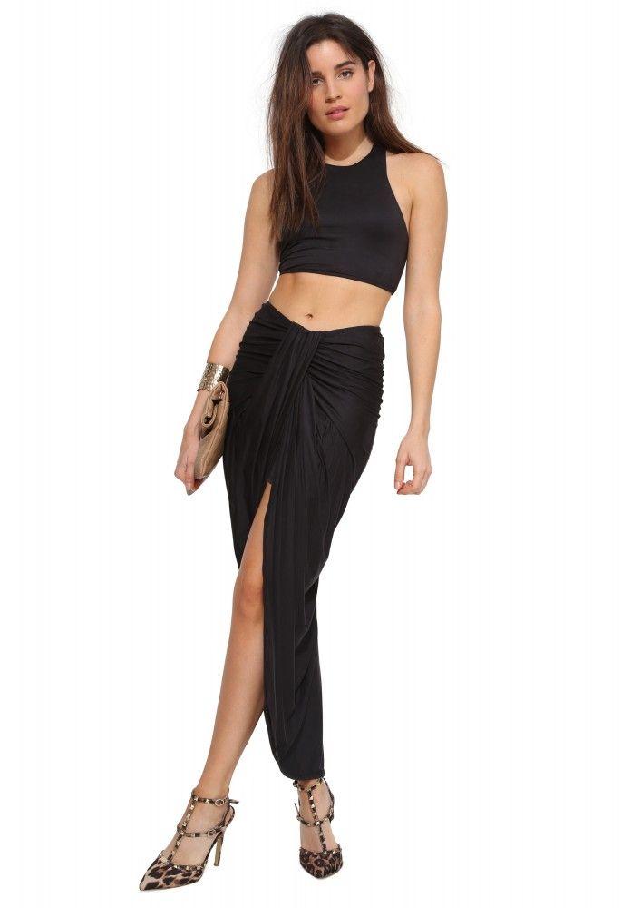 Caribe Waterfall Maxi Skirt in Black   Necessary Clothing
