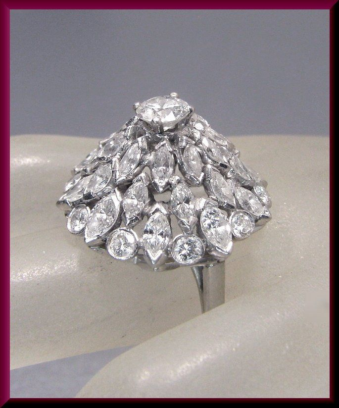 03545e6d076ee Diamond Cluster Cocktail Ring Vintage Cocktail Ring Platinum 1950's ...