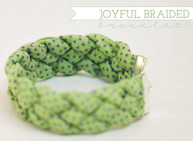 """I love this bracelet, could be done with a lot of different fabrics for different looks.  It came from a cool blog, """"How Joyful"""", she has some great stuff on there!"""