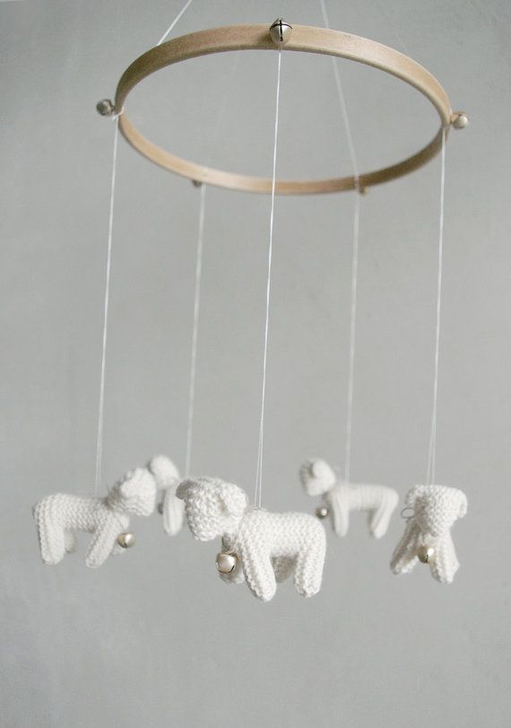 Baby  mobile  nursery mobile  baby crib mobile  Lambs by Patricija, $99.00