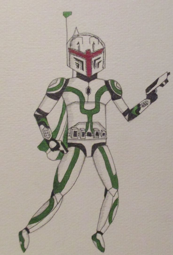 Custom Drawn Star Wars Mandalorian Bounty Hunter
