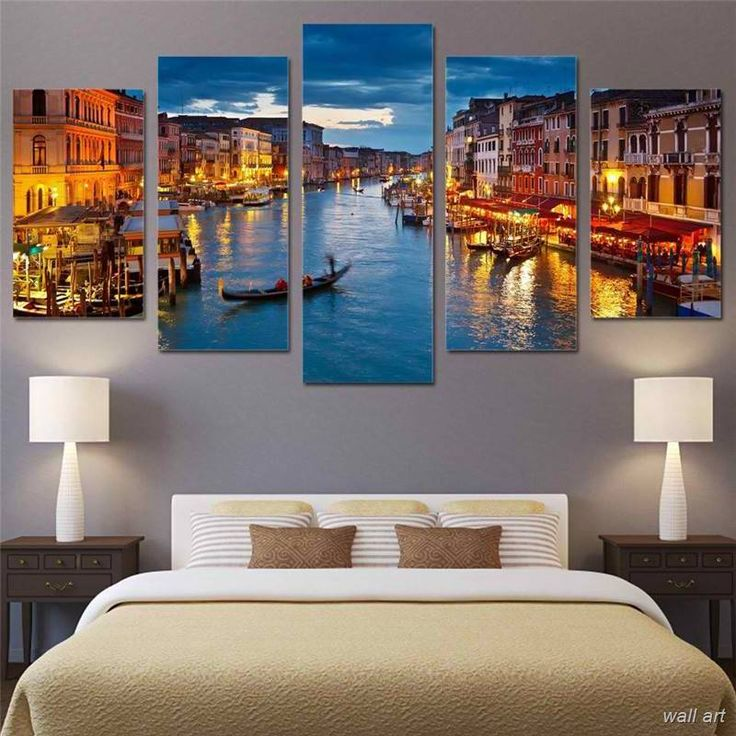 Night Lights In Venice City Boats On Water Canals Water Framed 5 Piece Canvas Wall Art