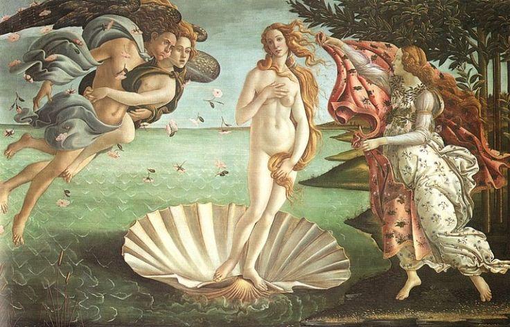 El nacimiento de Venus (La Nascita di Venere) Sandro Botticelli, 1484 Temple sobre lienzo • Renacimiento 278,5 cm × 172,5 cm Galería Uffizi, Florencia,Italia