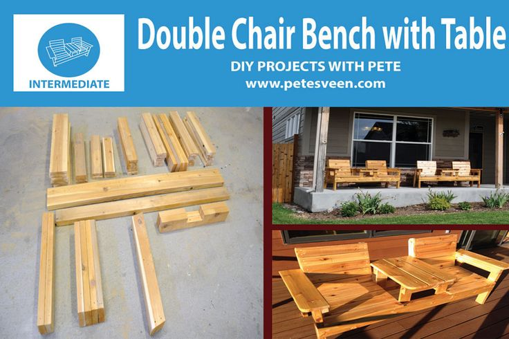 My free plans and video tutorial on how to make a double chair bench with a table in the center!