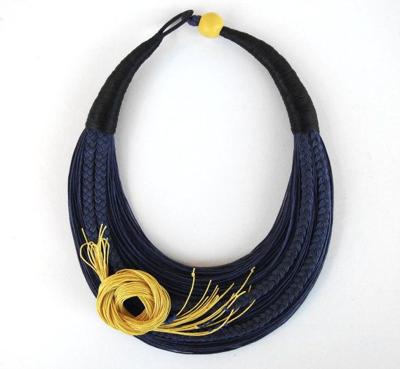 Floral Necklace, Statement Fiber Necklace, Romantic Necklace, Blue and Yellow Necklace, Bold Necklace