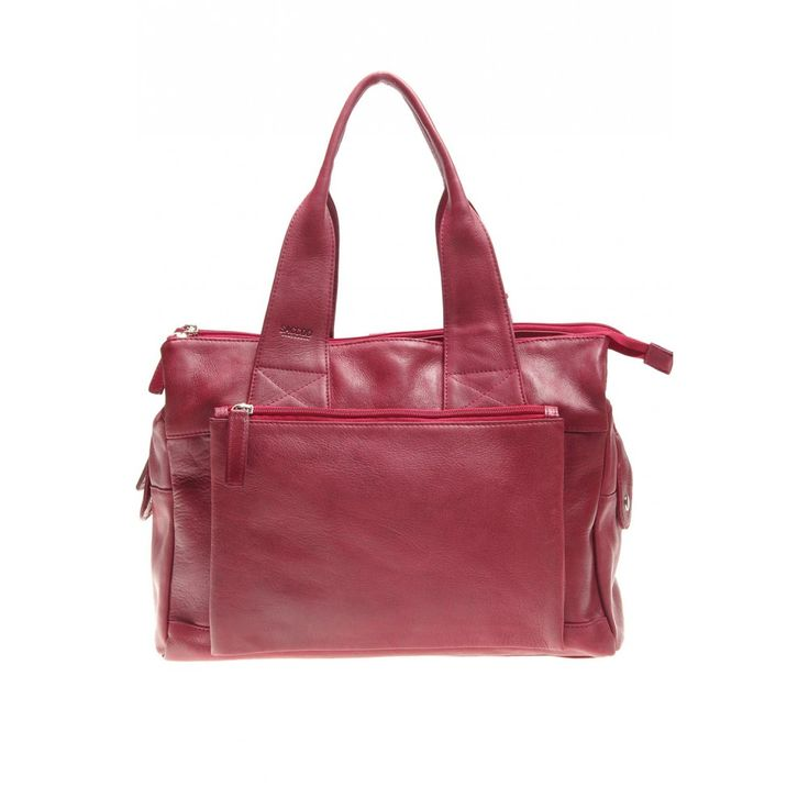 Saccoo Uniono Large Leather Zipped Grab Bag Red