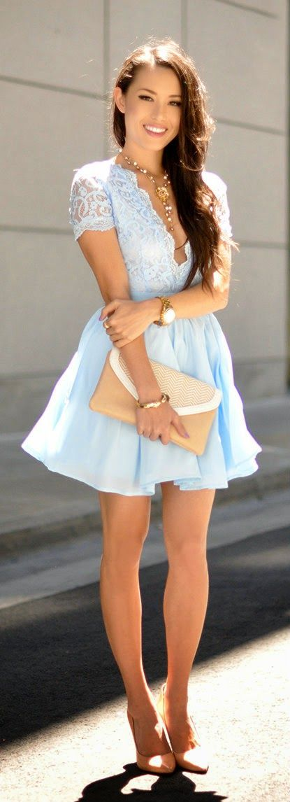 Baby Blue Lace Little Dress by Hapa Time