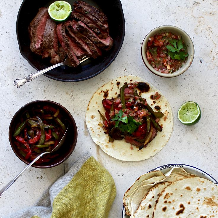 STEAK FAJITAS WITH CHARRED CAPSICUM AND FRESH SALSA. For a fast, low-calorie dinner, try this signature Tex-Mex dish that combines the finest locally sourced grass fed rump steak with grilled capsicum served on a tortilla with a tomato and lime salsa. Feel free to make this on the BBQ to add a flame grilled flavour.  20 Minutes. Sugar Free. Dairy Free.