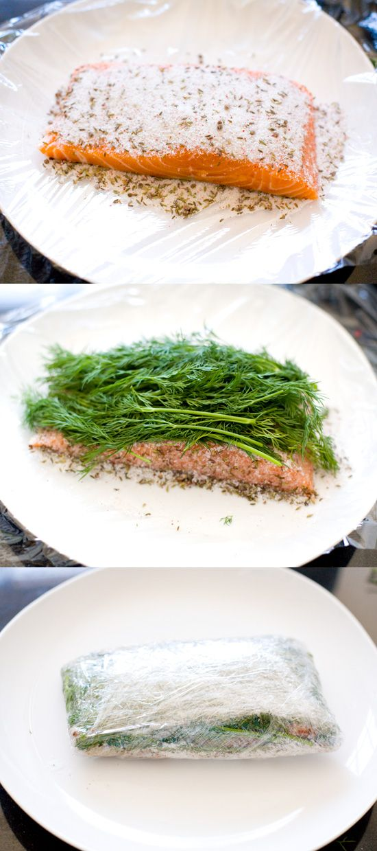 une chouette version du saumon gravlax / homemade gravlax with pink peppercorns and dill