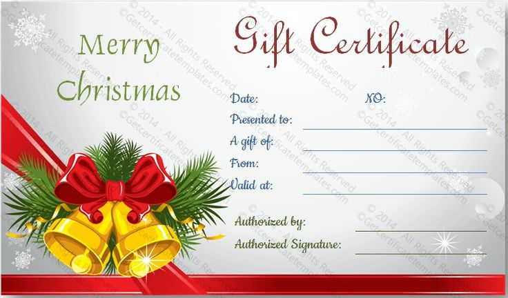 Christmas Gift Certificate Template  Beautiful Printable Gift