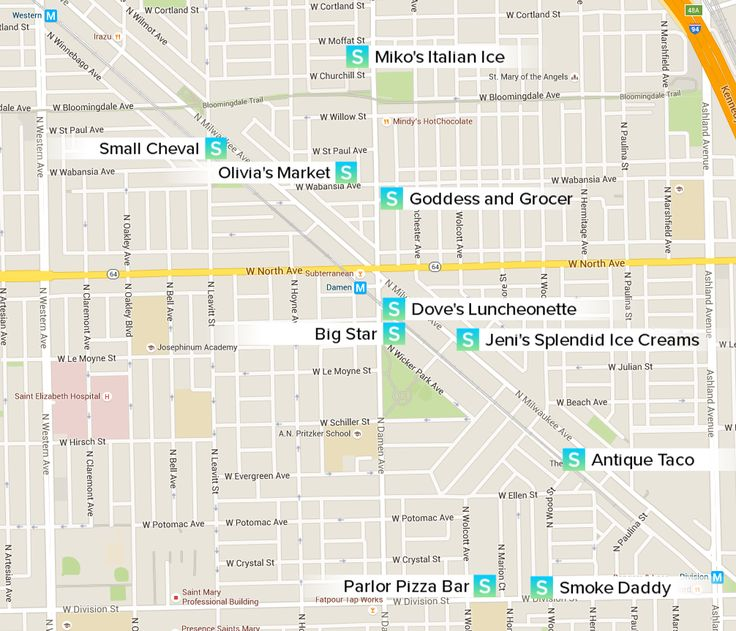 Map of all Neighborhood Picks in Wicker Park / Bucktown