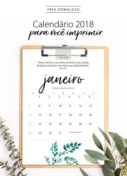 Calendário 2018 - free download - designed by Sandra H. V.