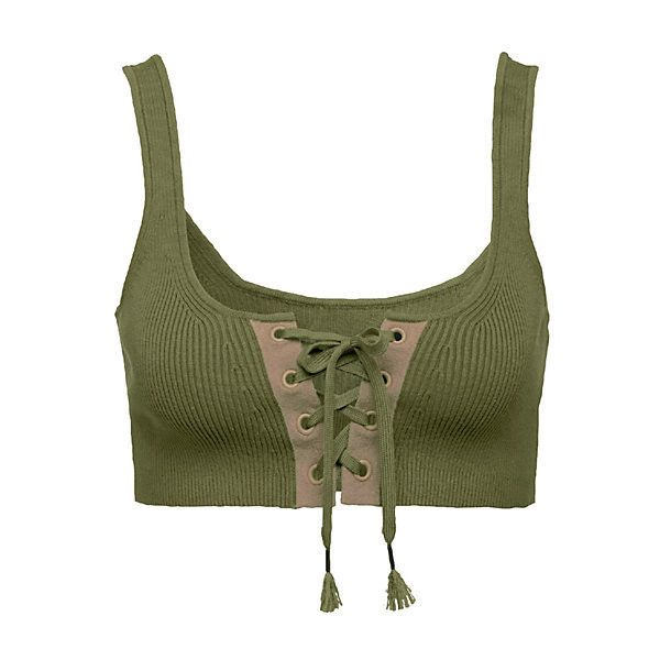 Lacing Long Bra (£115) ❤ liked on Polyvore featuring activewear, sports bras, tops, bra, crop top, sexy sports bra, long sports bra, sexy activewear and green sports bra