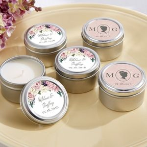 We are absolutely smiling over the smell of these Personalized English Garden Travel Candles. For a Wedding Favor or Bridal Shower Favor