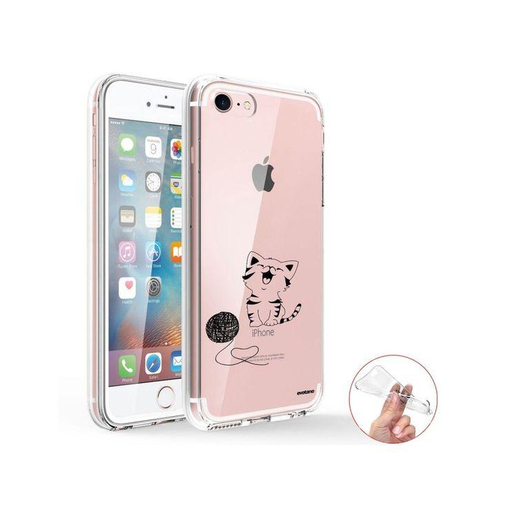 Coque 360 Iphone 7 Iphone 8 360 Intégrale Transparente Chat Et Laine Ecriture T…
