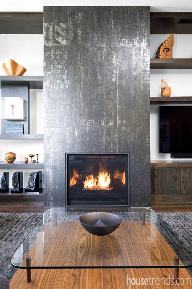 Fireplace Tile Inspired By Graffiti Living Room Decor Modern