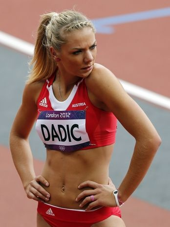 Ivona Dadic competing for Austria in the women's heptathlon in the 2012 Olympics.