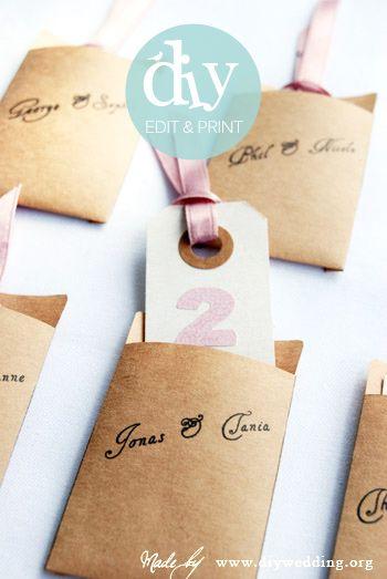 do it yourself wedding escort card envelopes - an editable wedding template