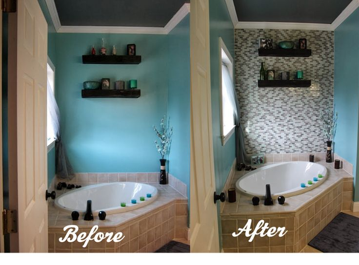 Diy glass tile accent wall in master bathroom glasses for Bathroom accent wall