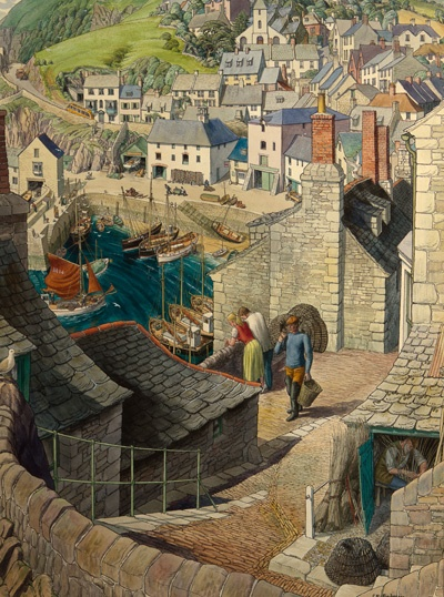 Stanley Roy Badmin (1906-1989) The South West Watercolour 55.9 x 41.9 cm £18,750 This piece was most likely commissioned as a travel poster for the Southwest, though its location is unknown and may be a combination of a real place and the artist's imagination.