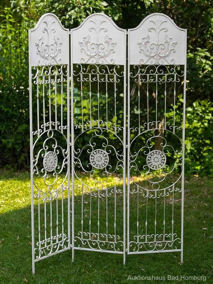 Vintage Paravent pergola spalier rankhilfe zaun kg metall antik stil raumteiler weiss