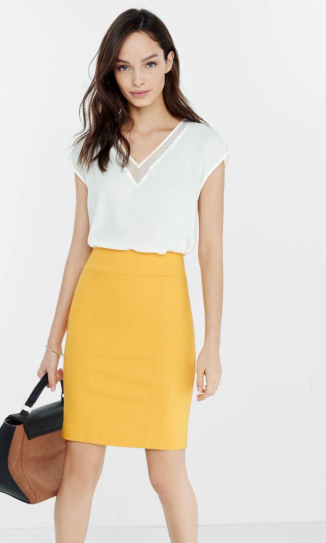 Papaya Seamed High Waisted Pencil Skirt from EXPRESS