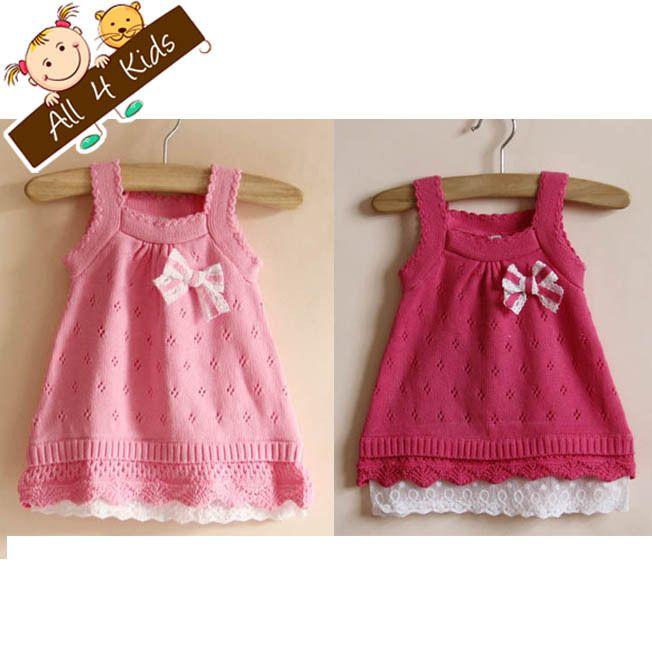 Line dress kids sundress knit bow knitted hem kids dress free shipping