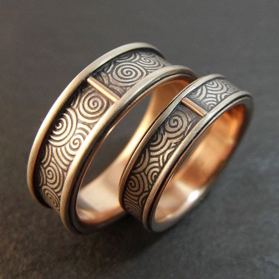 Wedding Band Set   Spiral Swirl  Sterling by DownToTheWireDesigns