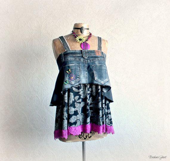 Recycled Jeans Women's Tank Boho Chic Top Artsy Clothing Black Ruffle Shirt Bohemian Style Eco Friendly Clothes Mori Girl Top S/M 'CASSANDRA