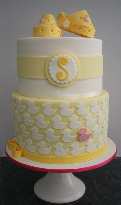 Baby shower cake with ducks and baby Crocs