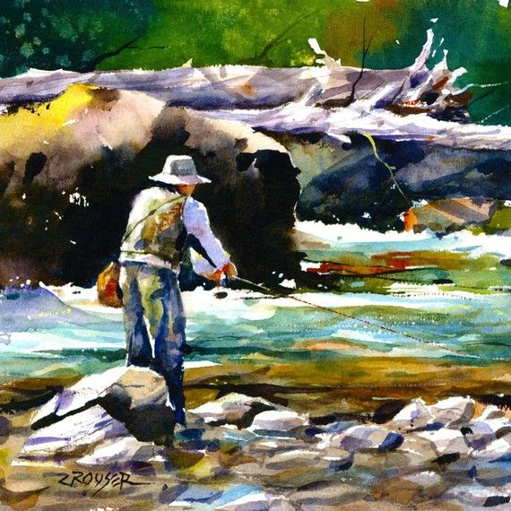 TROUT FISHING Colorful Watercolor Print by DeanCrouserArt on Etsy, $45.00