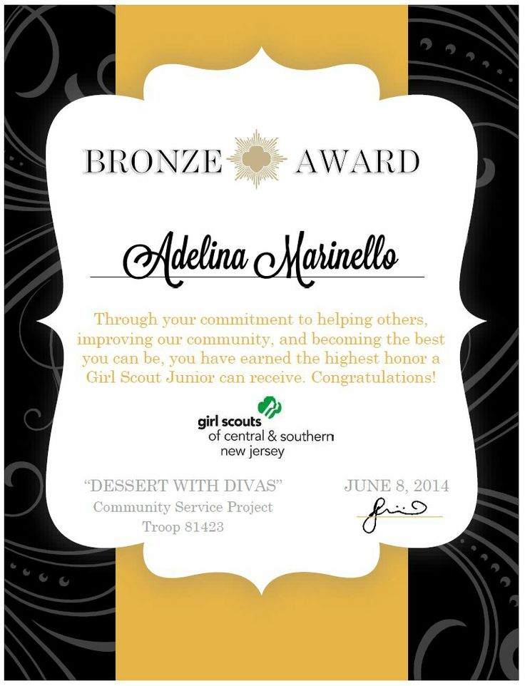 59 best design certificate images on pinterest award girl scouts bronze award certificate made using microsoft word standard template free and yadclub Choice Image