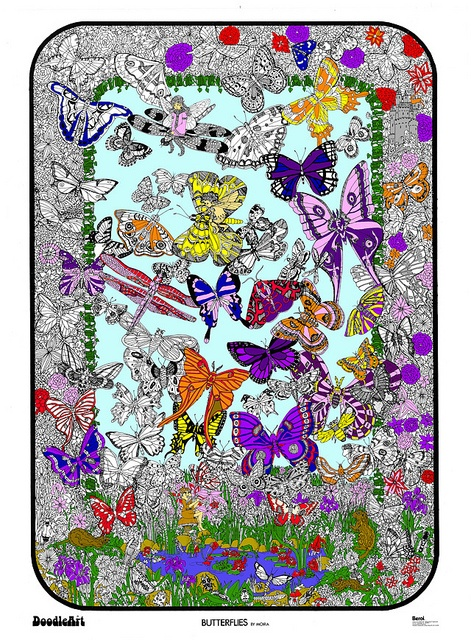 Doodle Art Butterflies Fairies Coloring Page Poster by Doodle Art Posters, via Flickr