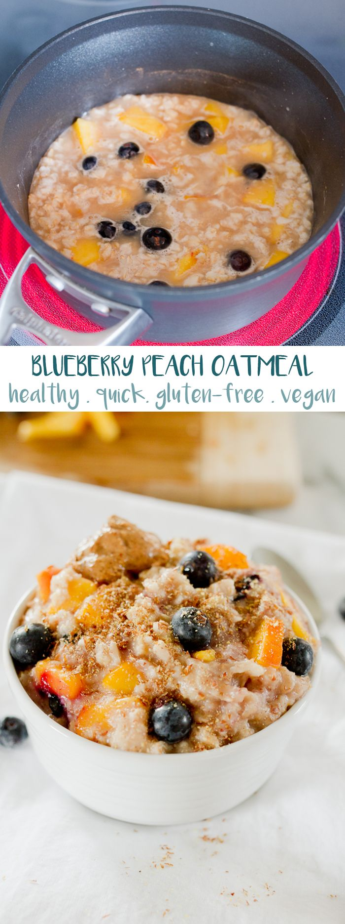 Add fresh peaches and blueberries to your oatmeal for a healthy and flavorful breakfast. Loaded with fiber, healthy fat and protein this delicious bowl of oats will keep you feeling full and energized all morning.