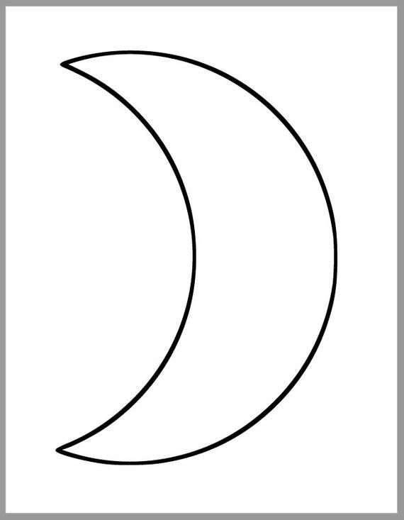 Printable Moon Template Large Crescent Moon Cutout 7 Inch Crescent Moon Baby Shower Decor Diy Craf Star Template Printable Crescent Moon Art Quilting Templates