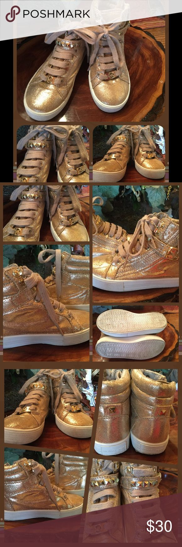 """Michael Kors Bronze Girls High Top Sneakers SZ 10 I heal Kors metallic bronze/ gold, """"girls""""very gently used, size 10, high top sneakers/ tennis shoes in size 10. From smoke free home with pets. Michael Kors Shoes Sneakers"""