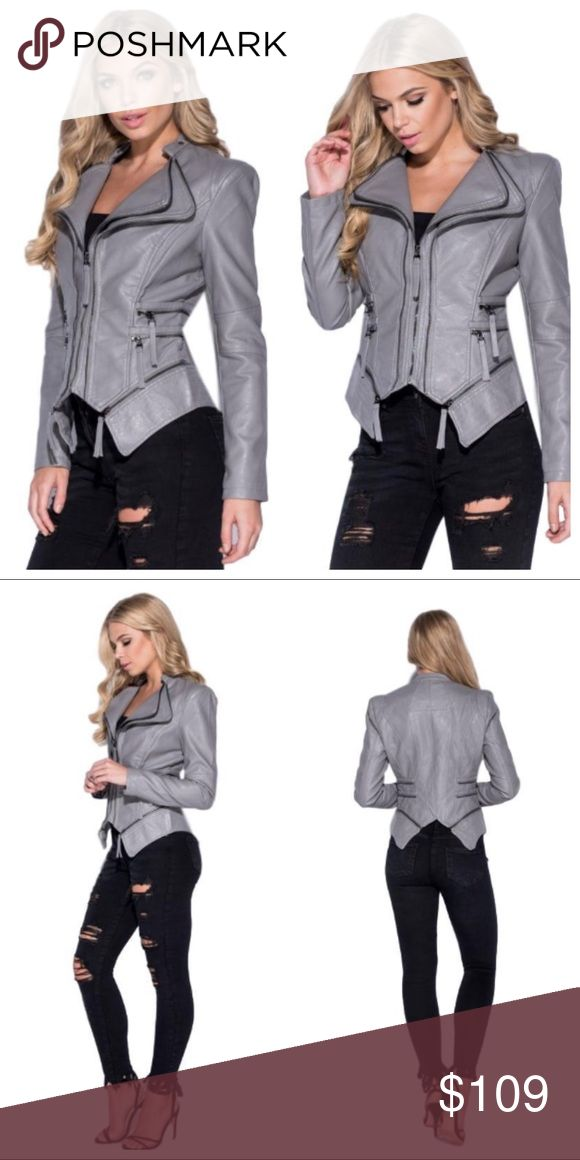 Harley - Leather Jacket (Grey) Colors: Gray Vegan Leather Jacket Textured Double Collar Faux Zipper Details Graphite Hardware Fully Lined  Runs True To Size Also Available in Pink The Modern Minx NYC Jackets & Coats