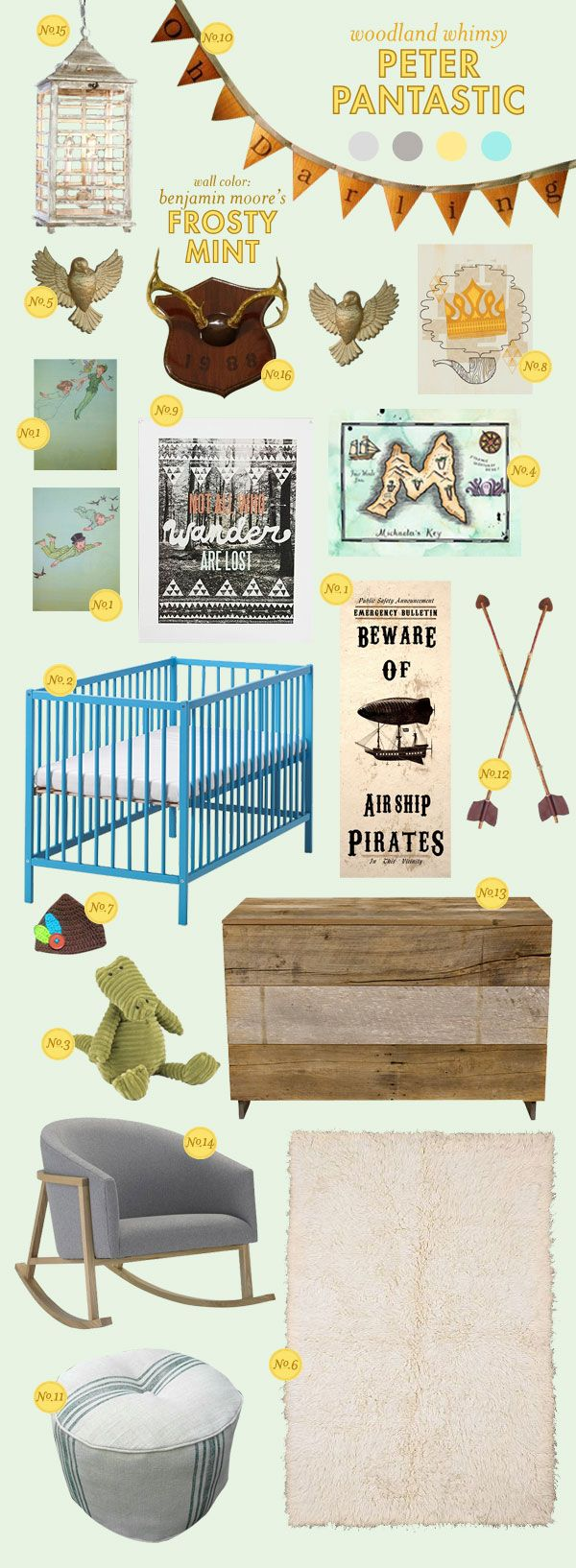 Peter Pan nursery.  Above are a few ideas to get started – there are so many fun details you could include with this idea!