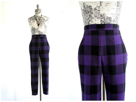 Vintage Purple Black Plaid High Waisted Pants at sweetasvintage