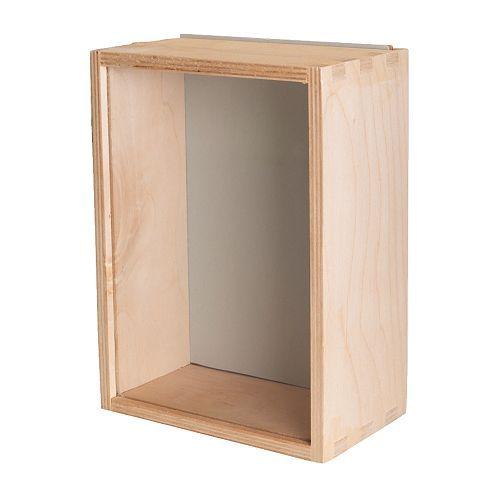BÅS Boîte vitrée IKEA Facile à garnir grâce au dos coulissant. Peut être accroché ou posé selon l'espace disponible.