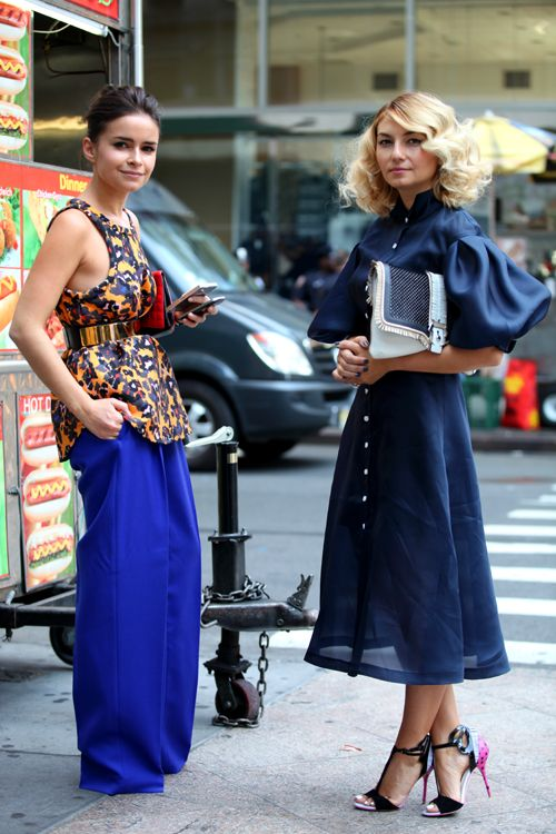 Miroslava Duma and Nasiba Adilova after Victoria Beckham SS14.