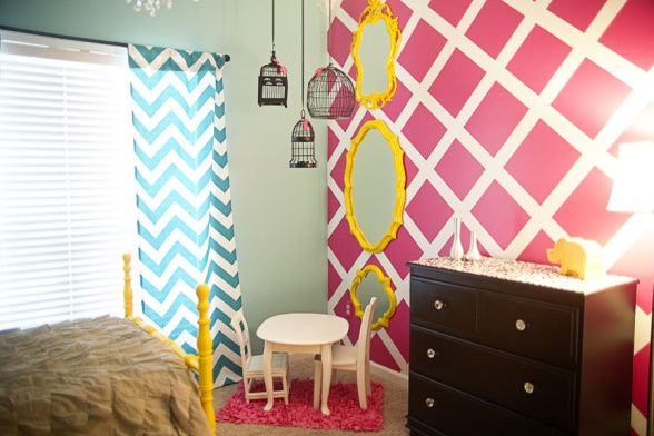 London's Big Girl Room, Decorating Style: I am in love with big, bold prints and colors...lots of mixtures of textures (ruffles, furriness, and crystal are some faves) and I like a bit of glam.  I also love DIY and budget friendly rooms that inspire and are very doable for a normal, everyday family.  Nothing that costs thousands and is out of reach! Project Details: twin bed:  antique find ($100), made in the 1930s and found on Craigslist.  Painted and laquered by my husband, yellow paint by…