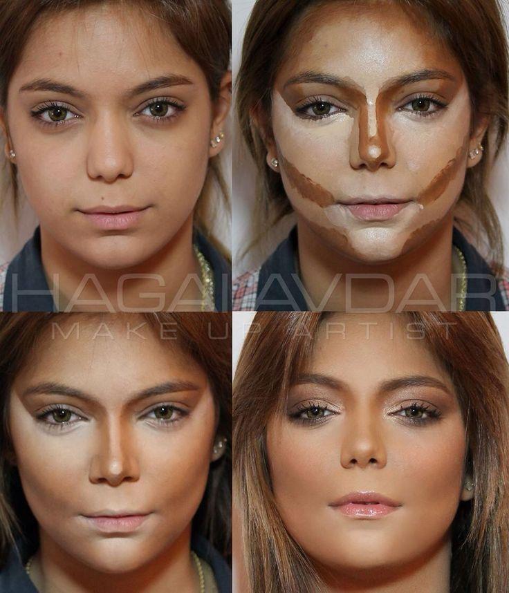 Contorno para afinar e iluminar o rosto com maquiagem