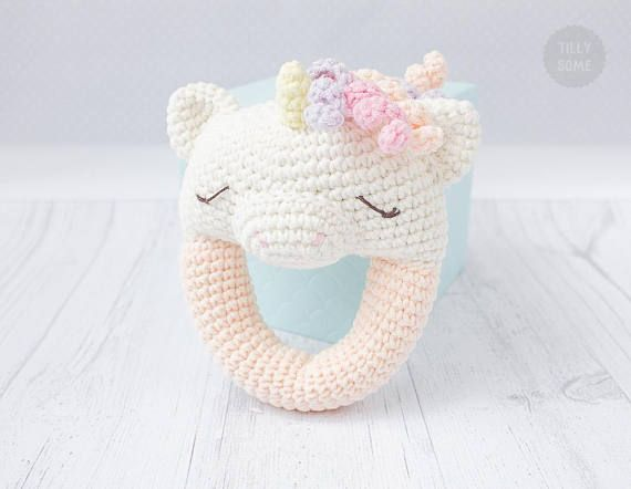 Unicorn Rattle Pattern  Crochet Rattle Toy  Baby Rattle