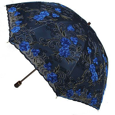 Women Embroidery lace Parasol Anti-UV/Sun Rain protection Lady Folding Umbrella