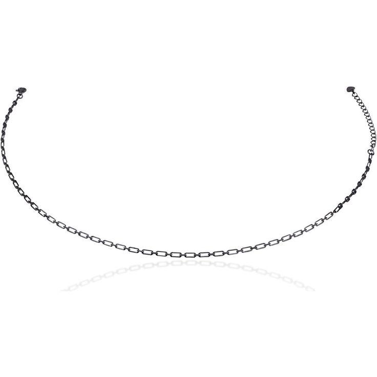 Links chain choker  black gold vermeil