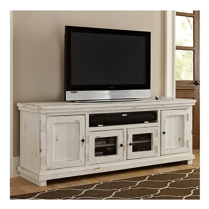 "Willow 74"" Entertainment Console in Distressed White | $269 | Nebraska Furniture Mart"