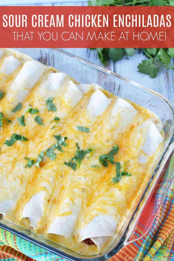 The Best Sour Cream Chicken Enchiladas Easy Sour Cream Enchiladas Recipe Sour Cream Chicken Enchilada Recipe Sour Cream Chicken Chicken Enchilada Recipe