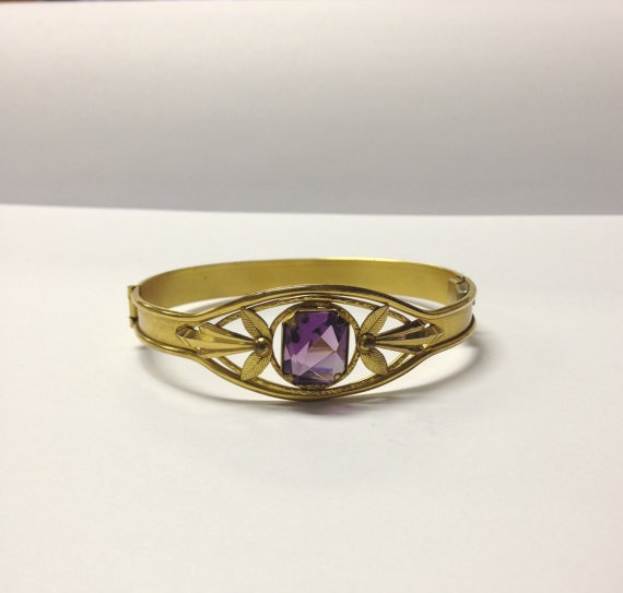 Beautiful vintage art deco gold and amethyst by VintageSoulGeek, $50.00
