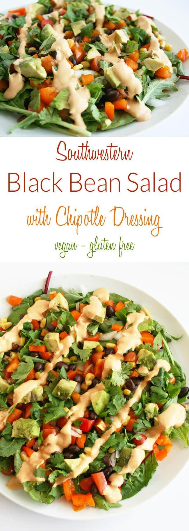 Southwestern Black Bean Salad with Chipotle Dressing (vegan, gluten free) - This vegan salad is an easy lunch or weeknight meal.